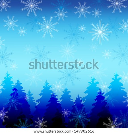 Beautiful winter background with snowflakes and fir trees. Background for New Year and Christmas with place for text. Vector illustration - stock vector