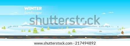 Beautiful winter landscape. Vector illustration - stock vector