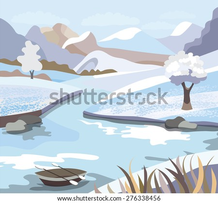 Beautiful  winter landscape (vector illustration) - stock vector