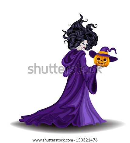 Beautiful witch with pumpkin in Halloween day - stock vector