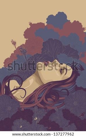 Beautiful woman background surrounded by flowers - stock vector