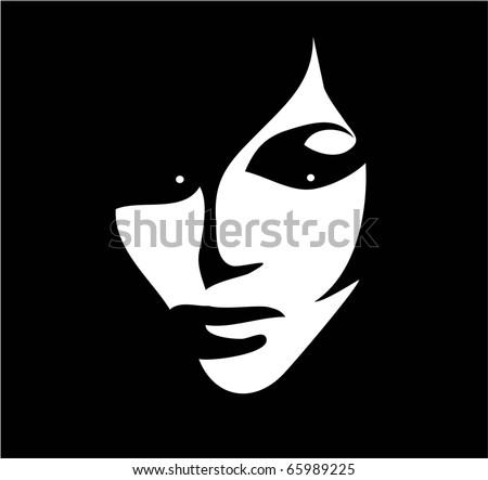 beautiful woman black white vector - stock vector