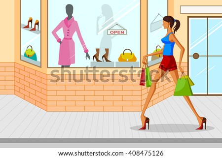 Beautiful woman doing Shopping . Vector illustration - stock vector