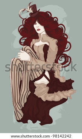 Beautiful woman dressed as sexy burlesque cabaret dancer with corset and mini top hat - stock vector