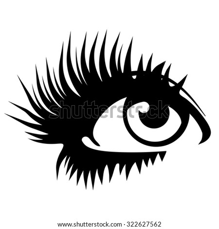Beautiful woman eye. Vector illustration. Ink drawing. Black and white. - stock vector