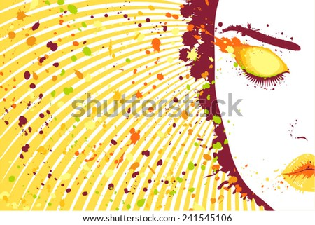 Beautiful woman eyes closed and makeup stains around - stock vector