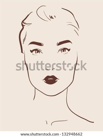 beautiful woman face hand drawn vector illustration eps 10 - stock vector