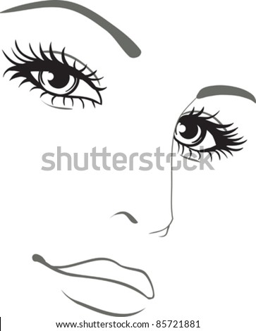 beautiful woman face vector portrait - stock vector
