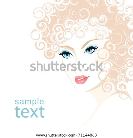 Beautiful woman. Female hair drawing. - stock vector