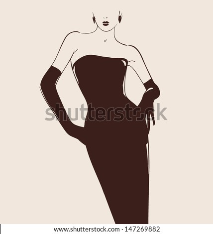 beautiful woman hand drawn illustration vector eps 10 - stock vector