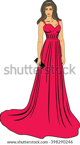 Beautiful woman in a long red dress. Vector - stock vector