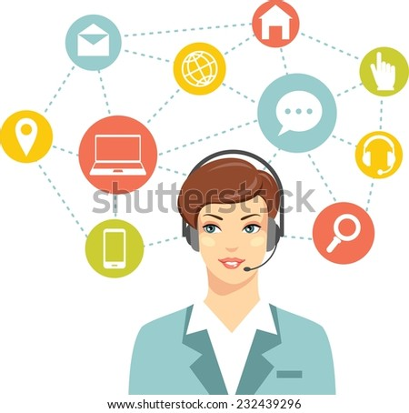 Beautiful woman in call center and networking flat icons - stock vector