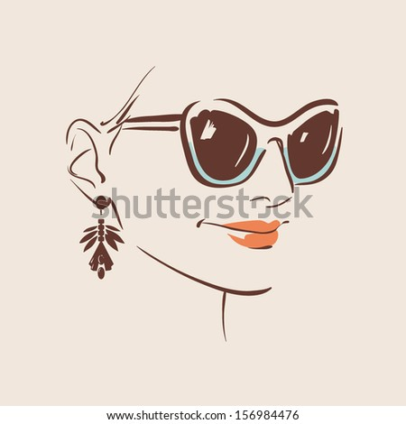 beautiful woman in glasses with earring vector illustration eps 10 - stock vector