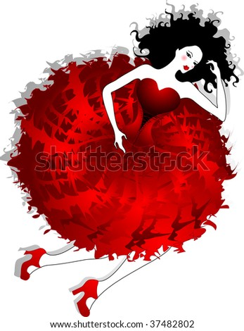beautiful woman in red - stock vector