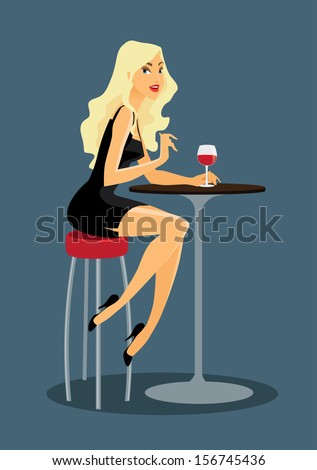 beautiful woman is drinking wine at the bar - stock vector