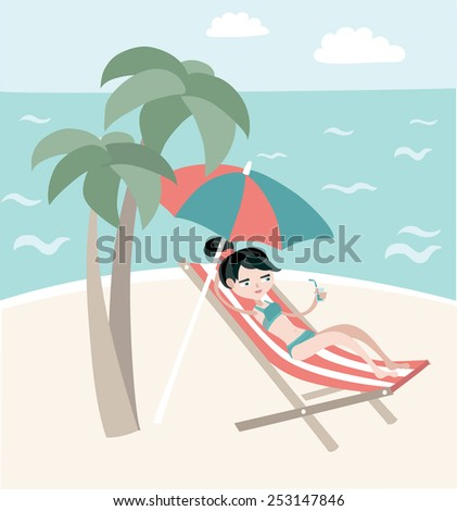 Beautiful woman lying in a sun lounger on the beach - stock vector