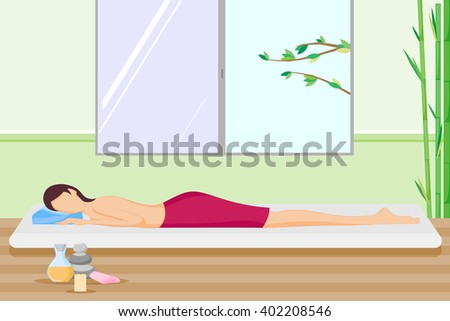 Beautiful woman pampering in spa. Vector illustration - stock vector