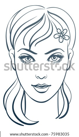 Beautiful woman portrait, linear illustration - stock vector