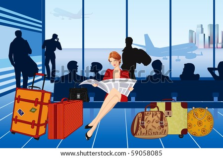 Beautiful woman reading a newspaper and waiting for her plane at the airport - stock vector