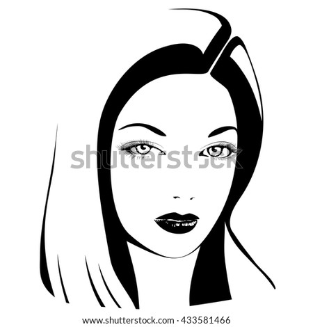 Beautiful woman's face. Simple lines. Sketch. Black and white. - stock vector