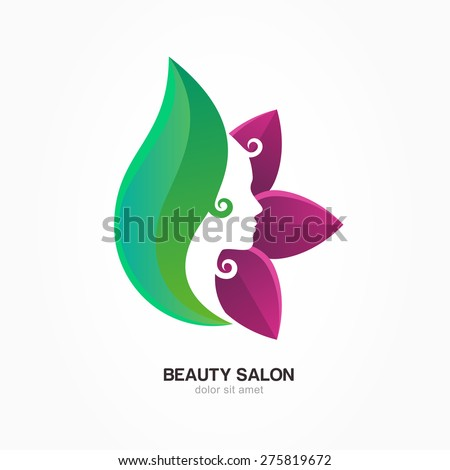 Beautiful woman's profile face in purple and green flower leaves. Vector logo design template. Abstract design concept for beauty salon, massage, cosmetic and spa.  - stock vector