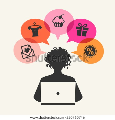 Beautiful woman shopping over internet - stock vector