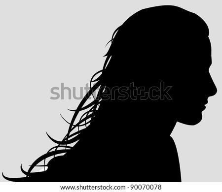 Beautiful woman silhouette - stock vector