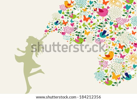 Beautiful woman silhouette, summer time colorful elements composition. Vector illustration layered for easy manipulation and custom coloring. - stock vector