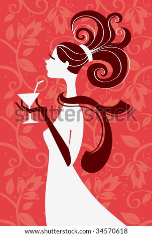 Beautiful woman silhouette with a glass in a hand, vector illustration - stock vector