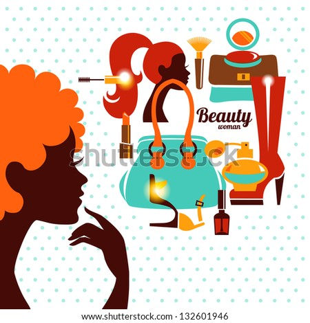 Beautiful woman silhouette with fashion icons. Shopping girl. Elegant stylish design - stock vector