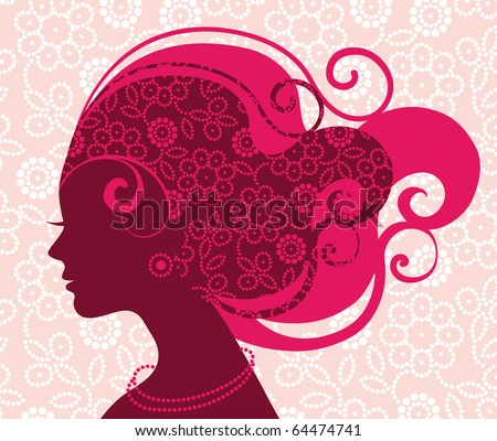 Beautiful woman silhouette with flowers - stock vector