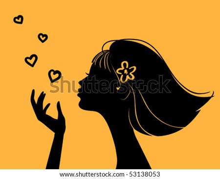 Beautiful woman silhouette with heart - stock vector