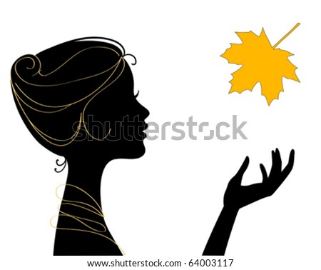 beautiful woman silhouette with leaf - stock vector