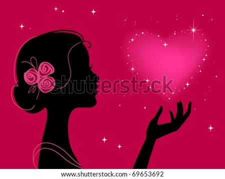 beautiful woman silhouette with star heart - stock vector