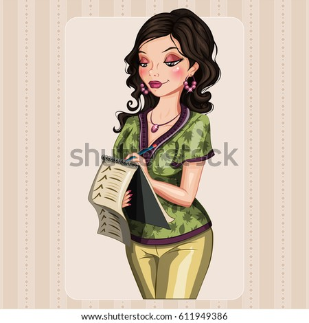 Beautiful woman with a list. Vector character. Taking note.