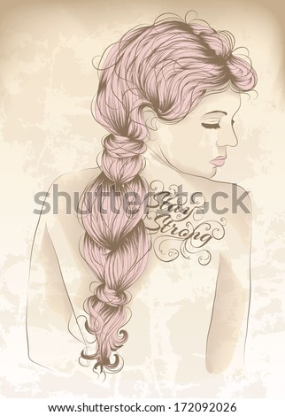 Beautiful woman with back tattoo - stock vector