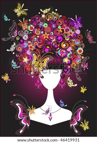 Beautiful woman with butterflies in colorful hair, vector illustration - stock vector