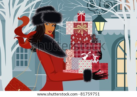 Beautiful woman with christmas gifts - stock vector