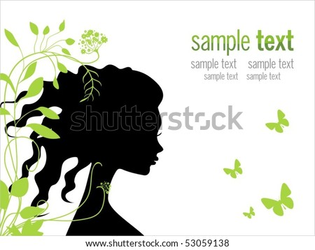 beautiful woman with flowers and butterflies in her long hair - stock vector