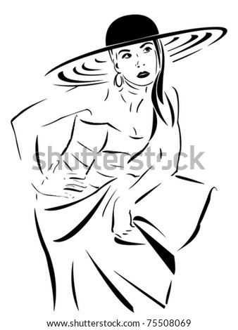 Beautiful Woman with hat and long dress - vector stylized - stock vector