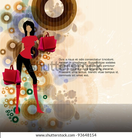 Beautiful woman with shopping bag - stock vector