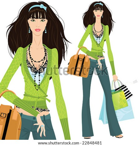 Beautiful woman with shopping bags, vector illustration