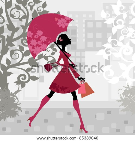 beautiful woman with umbrella - stock vector