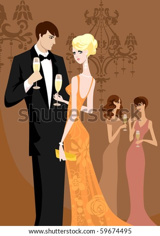 Beautiful women and men in evening wear - stock vector