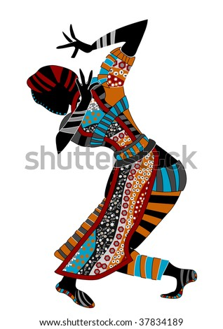 beautiful women dance ethnic dance on a white background - stock vector