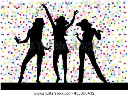 Beautiful women dancing. Background dots.
