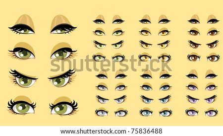 Beautiful women eyes with different expressions set 1 - stock vector