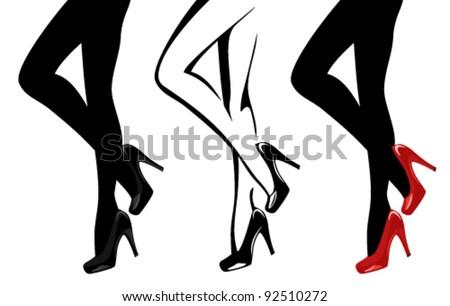 beautiful women legs wearing high-heeled shoes vector illustration - stock vector