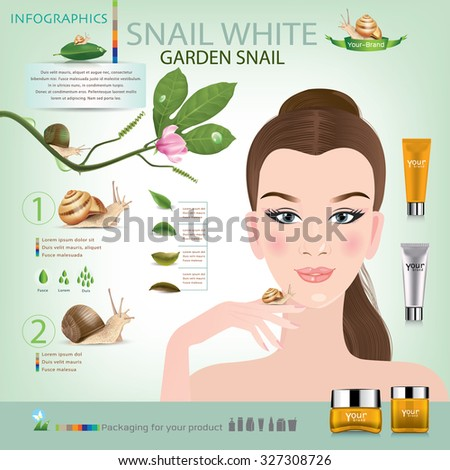 Beautiful women with cosmetic packaging with snail.vector - stock vector