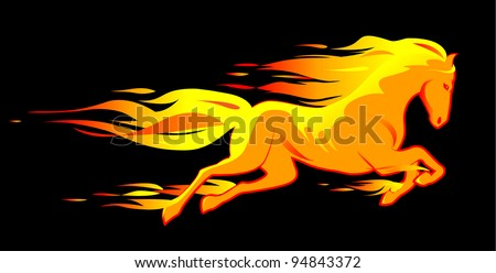 Beautiful yellow fiery horse isolated on black